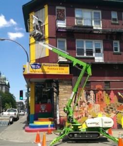 peinture avec nacelle Montréal centre-ville